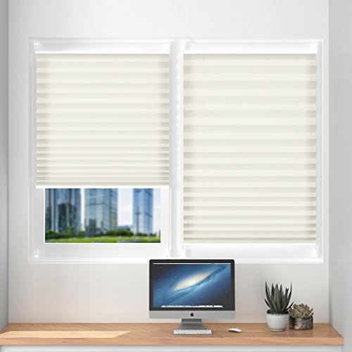 Plissee klemmfix ohne Bohren verdunklung 40 x 100cm Beige Seitenzugrollo Faltrollo für Sonnenschutz, Plissee Jalousie Klemmfix Rollo für Fenster und Tür