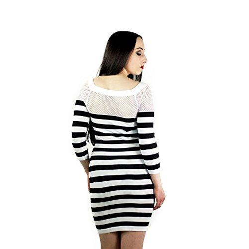 Poizen Industries Stripe net top donna bianco nero rosso taglia unica White/Black