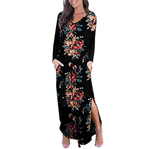 KiyomiQaQ Robe Femme Manche Longue Portefeuille Longue Pas Cher Robe de Plage Robes Casual Imprimé Col V Boheme Robe de Cocktail Robe Solde Robe Fluide Tenue Été Grande Taille Mode Elegante