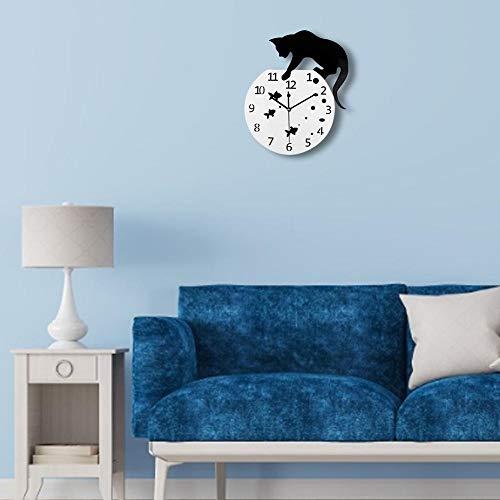 seawe Wanduhr Naughty Cat Acryl Uhr Wandbehang Moderne Uhr Wohnkultur Uhr Wandaufkleber Für Nordic Home Decoration Bringt EIN Gefühl Von Kunst In Ihr Zimmer Dekorative Wanduhren39x32cm