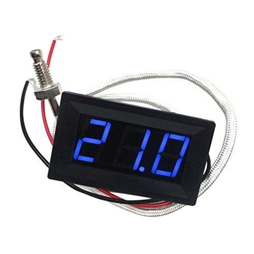 MagiDeal LED Autothermometer Innen/Außen DC 12V Auto KFZ Thermometer Digital Thermometer Panel-Meter -30 bis +800 ℃ - Blau