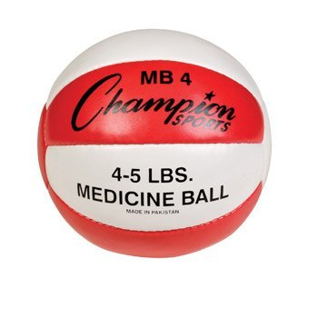 Champion Sports Leather Medicine Ball (Red/White, 4 - 5 Lbs)