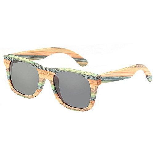 Qifengshop Sonnenbrillen Herren Polarized Retro Gestreiftes Holz Angeln Fahren Gläser (Color : Gray)