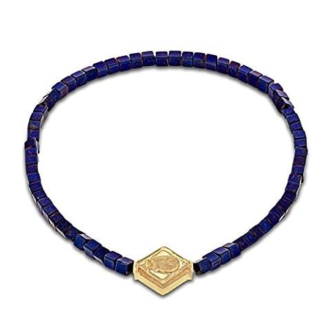 LUIS MORAIS 14ct Yellow Gold Scarab Lozenge Beaded Bracelet