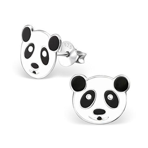 Monkimau 925 Silber Panda-bär Ohrring-e Kinder-Schmuck Kinder-Ohrstecker Damen Mädchen Ohr-stecker -