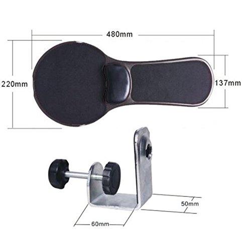 XICHEN Premium Computer-Handgelenkstütze/Armablage, verstellbar, zur Befestigung an Armlehne oder Schreibtisch, ergonomische Form, mit Mausmatte Schwarz