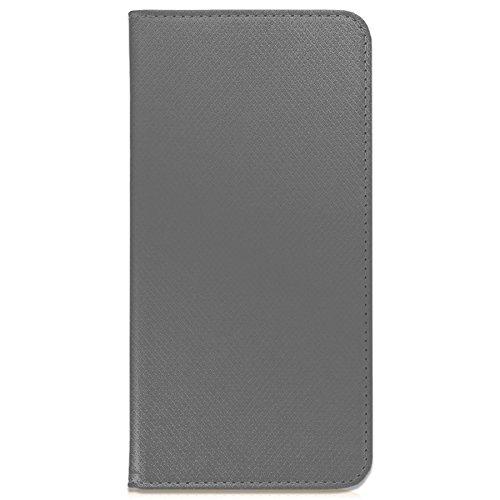 mtb more energy® Schutz-Tasche Bookstyle für LG Q6 (M700N, M700A / 5.5'') | grau | Kunstleder | Klapp-Cover Hülle Wallet Case