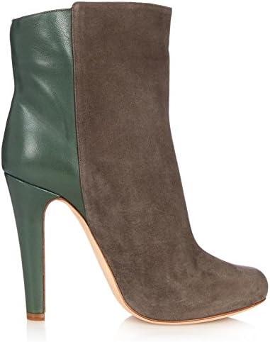 NVXIE Mujeres Tobillo Botas Stiletto Talón Zapatos Casual Moda Cuero Gamuza Costura Gris Ronda Cabeza Spring Otoño...