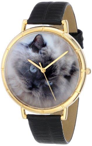 Drollige Uhren Himalaya-Katze Schwarz und goldfarben, Unisex Quartz-Uhr mit weißem Zifferblatt Analog-Anzeige und N-0120039 Mehrfarbige Lederband (Himalaya-katze Schwarz)