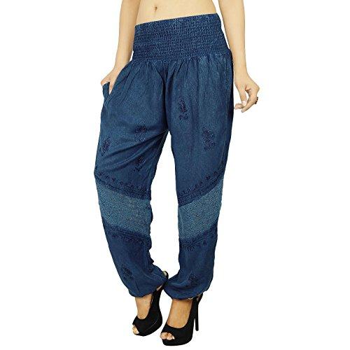 Casual Hippie Bohemian Aladdin Yoga Sarouel Pantalons femmes indiennes cadeaux pour elle Bleu