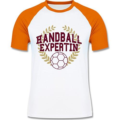 Handball - Handballexpertin - zweifarbiges Baseballshirt für Männer Weiß/Orange