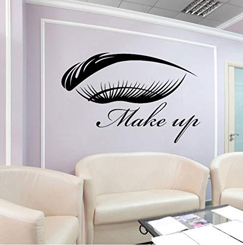 Make Up Vinyl Wandtattoo Augenbrauen Wimpern Makeup Beauty Salon Logo Aufkleber Mädchen Schlafzimmer Badezimmer Wasserdichte Dekoration 57x87cm (Erwachsenen-schlafzimmer-wand-abziehbilder)