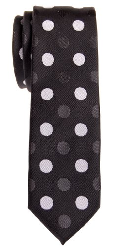 Retreez bicolores à pois en microfibre tissé de Skinny – Différentes couleurs Noir - Black with Black and Grey Polka Dots