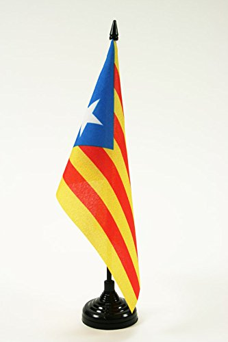 BANDERA de MESA de CATALUÑA ESTELADA BLAVA 21x14cm - BANDERINA de DESPACHO CATALANA INDEPENDENTISTA – CATALUNYA 14 x 21 cm - AZ FLAG