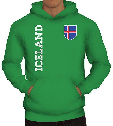 Island Fußball WM Fanshirt Gruppen Herren Hoodie Männer Kapuzenpullover Fan Trikot Iceland, Größe: S,Kelly Green