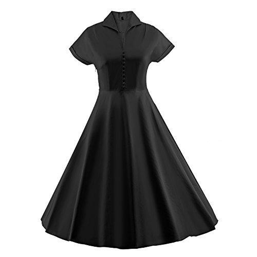 Pin S Up Kostüme 1940 (iLover 50s Retro vintage Rockabilly kleid Hepburn Stil shirt Partykleid)