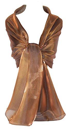 GFM® Marken Schal schimmernd, irisierend, Stola, ideal für Abend, Hochzeit, Partys, Brautjungfern, Bridal Wear oder Braut oder Ball Proms Gr. Large, Copper Brown (CPKEK) L:200cm (Prom-ball)