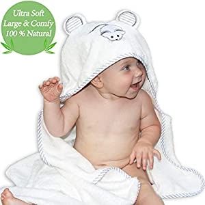 Premium Bamboo Hooded Baby Towel by Liname® - Extra Soft, Thick & Ultra Absorbent - Extra Large 100 x 70 cm for Infants & Toddlers - Keep Your Baby Warm & Cosy