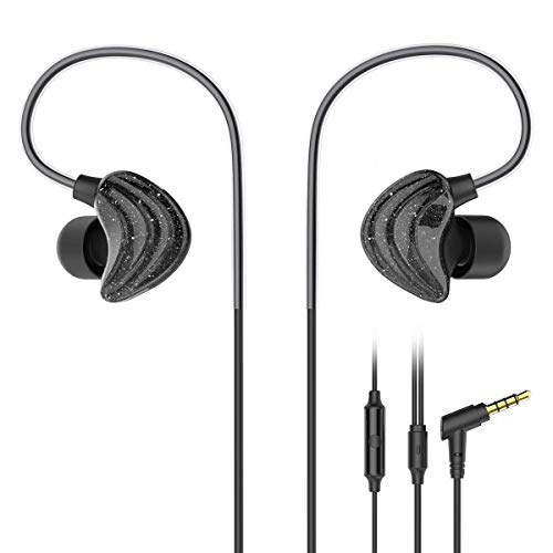 UiiSii CM5 L Sports Headphones with Mic and Remote, Comfortable Graphene Coaxial Design, and Stereo Bass Earbuds for Gym Running (Black)