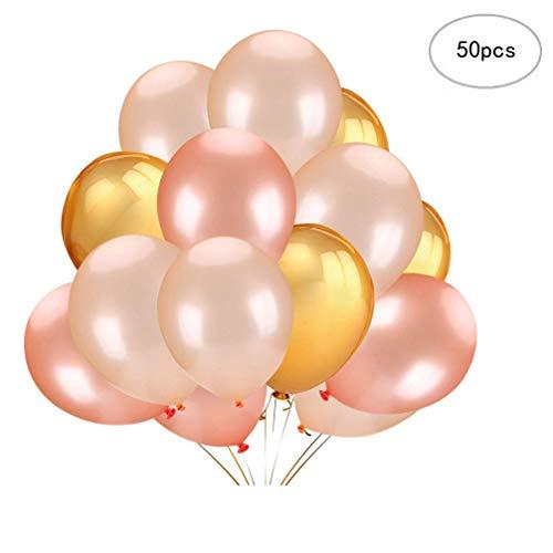 Yeelan Latex ballon 12 Zoll Gold & Rose Gold & Champagner Ballons für Hochzeit Geburtstag Party Engagement Baby Dusche Dekorative (50 stücke) (Engagement Party Ballons)