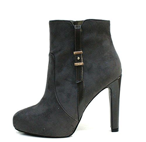 Gaudi Tronchetto Donna Bali Dama Zip Tacco Cm 11 Leather Grey_38