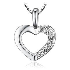 Idea Regalo - JewelryPalace 0.06ct Cubic Zirconia Amore Cuore Ciondolo Collana Pendente Catena 925 Argento Sterling 43cm
