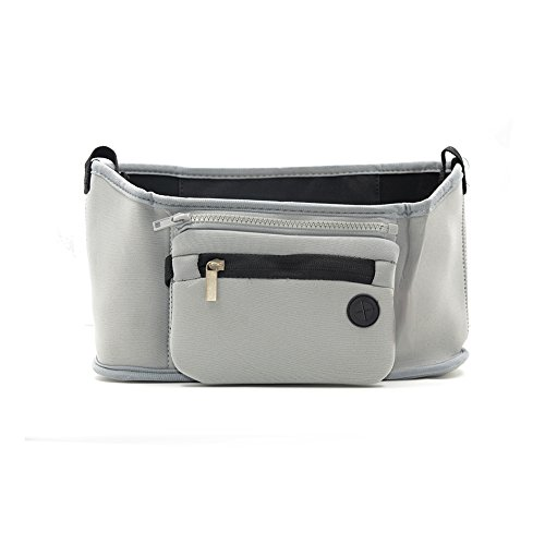 Buggy Organizzatore bagagli Passeggino Organizzatore Passeggino Accessorio ordinato del sacchetto del Caddy con Staccabile Zipper Pouch per Toddler Baby By Webeauty (Grigio)