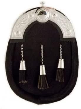 Full Dress Sporran Celtic Lace Cantel Black Bovine Fur