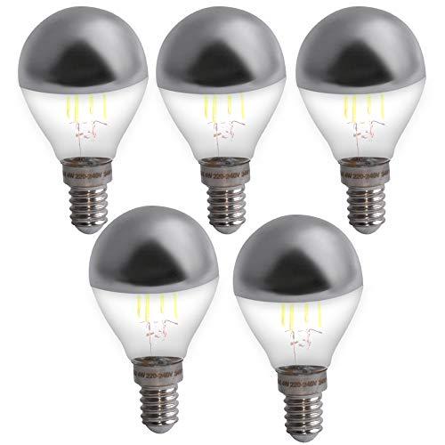 euchtmittel Filament Kopf Spiegel Lampen silber rund Birnen Tropfen 400 Lumen E14 ()