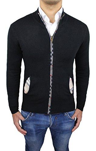 Maglione cardigan uomo nero casual invernale golf pullover tartan scozzese (XL)