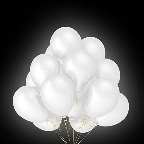Foho 40 LED Leuchtende Weiß Luftballons für Party, Geburtstag, Hochzeit, Festival, Weihnachten