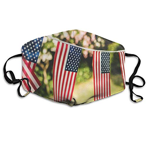 Flag String (String of American Flags Outside Printed Mouth Masks Unisex Anti-dust Masks Reusable Face Mask)