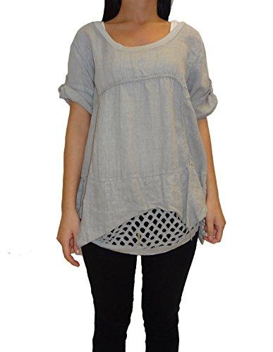 Mesdames Femmes manches courtes T-shirt à encolure dégagée Top (UK 10-16) Gris clair
