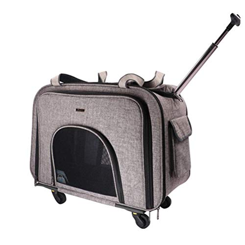 HXPXXB Trasportino Gatto Gatti Ane Cani Borsa Borsa per Animali in Nylon con Ruote per Cani di Trasporto per Gatti Ventilazione di Trasporto 58 * 38 * 32 Cm, Grigia