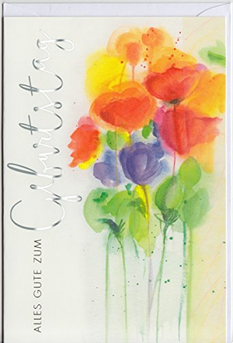 Geburtstagskarte Aquarell-Blumen Alles Gute