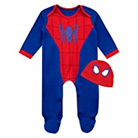Marvel Baby Boys Spiderman Sleepsuit and Hat Set