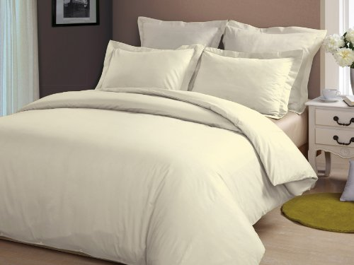 Pearbedding 1200 TC Egyptian Cotton Superior Quality Sheet Set 46 cm Deep Pocket Solid ( UK Emperor , Ivory )
