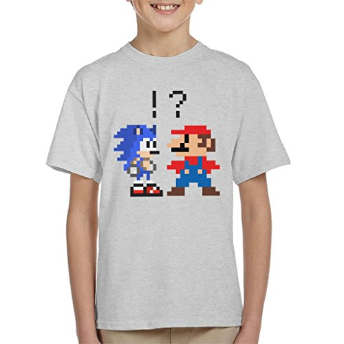 Sonic The Hedgehog Vs Mario Funny Kids T-shirt, 3-13 yrs