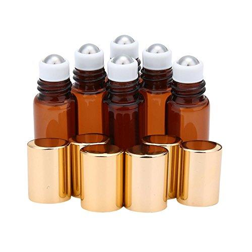 niceEshop Glasfläschchen mit Edelstahl-Rollerkugel, bernsteinfarbenes Glas, 10ml, für ätherisches Öl, Aromatherapie, Parfüm und Lippenbalsam, 6Stück -