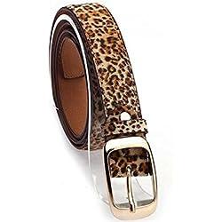 elwow Mujer Piel Cinturones de cintura con hebilla de chapado en, cintura ajustable correas de cuero Jeans cinturón Estampado De Leopardo Talla única