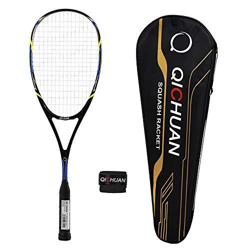 QICHUAN Squash Schläger Racket 100% Nano Graphit Carbon mit Tasche & Griffband Erwachsene (Schwarz)