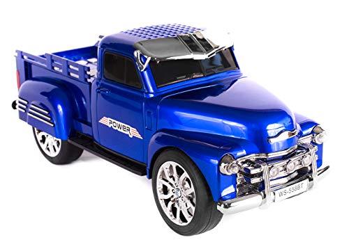 JeVx Altavoz Camioneta Pickup con Bluetooth USB para Pendrive Furgoneta Lector de Tarjetas de Memoria Micro SD TF Radio FM Portatil Reproductor Musica Mp3 Faros Led (Azul)
