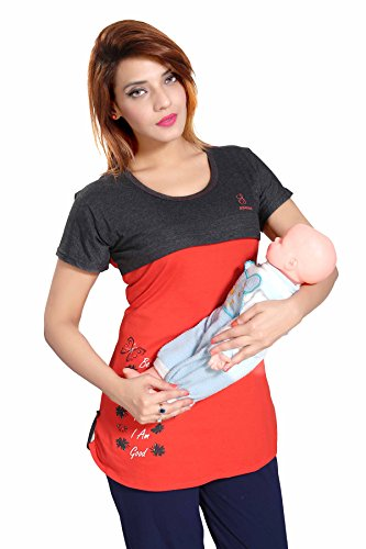Soulemo Women's Cotton Feeding T-Shirt/Nightwear (630DL_Red_Large)