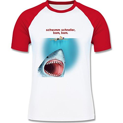 Wassersport - Schwimm schneller, bam, bam. - zweifarbiges Baseballshirt für Männer Weiß/Rot