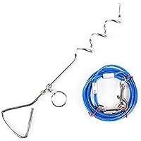 JunBo Set Cable para Perros y Estaca para Perros en Acero Inoxidable para Exterior Jardín y Cámping (5M, Azul)