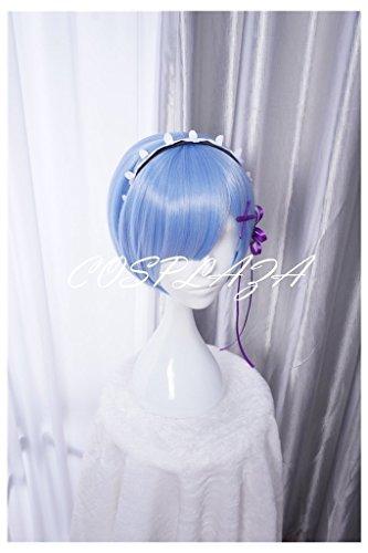 COSPLAZA Perücken Cosplay Wig Re:Zero kara Hajimeru Isekai Seikatsu Rem kurz Blau Anime Haar