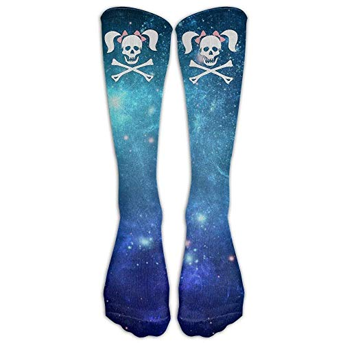 deyhfef Skull Crossbones Pigtails Adult Cotton Knee High Soccer Sports Team Tube Socks Long Stockings Athletic Sport Tube Socks50cm -