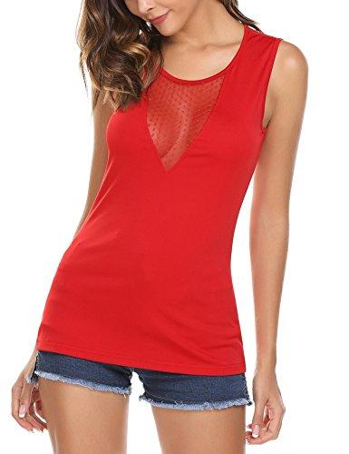 Tops Damen Tank Armlos Shirt V-Ausschnitt Bluse Rückenfrei Tunika sexy Oberteil weinrot Oberteil xl shirt 42 shirt für frau