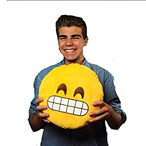 Gadget Paradise Grin Emoji Pillow Cushion Yellow Round Cotton Car Couch Pillow Unique Gift