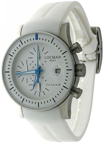 Locman Island/orologio uomo/quadrante bianco/cassa acciaio e titanio/cinturino silicone bianco/ref. 062000WB-WHKSIW